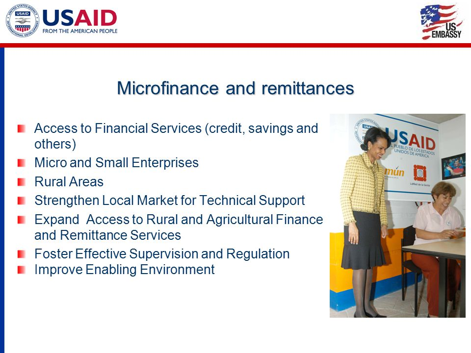 Microfinance and remittances Access to Financial Services (credit, savings and others) Micro and Small Enterprises Rural Areas Strengthen Local Market