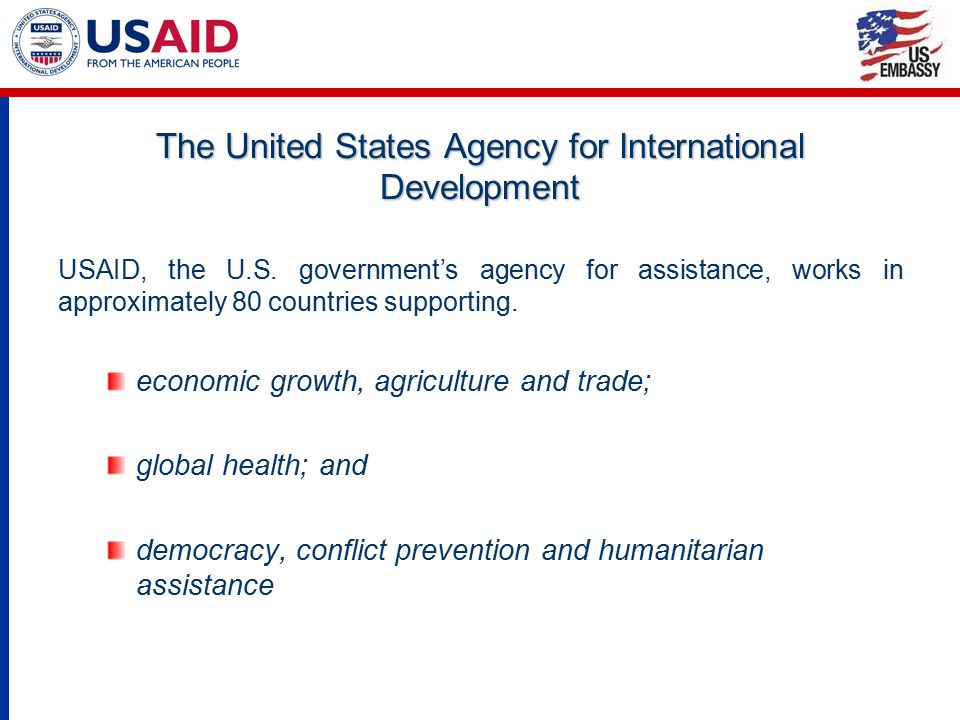 The United States Agency for International Development USAID, the U.S. government's agency for assistance, works in approximately 80 countries support