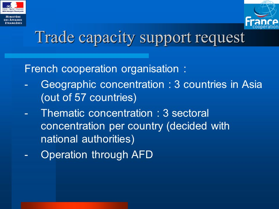 Trade capacity support request French cooperation organisation : -Geographic concentration : 3 countries in Asia (out of 57 countries) -Thematic concentration : 3 sectoral concentration per country (decided with national authorities) -Operation through AFD