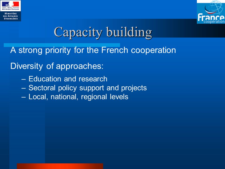 Capacity building A strong priority for the French cooperation Diversity of approaches: –Education and research –Sectoral policy support and projects