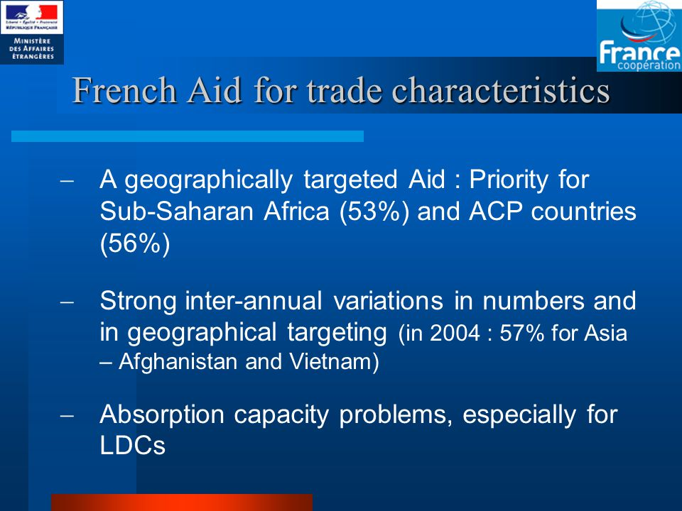 French Aid for trade characteristics  A geographically targeted Aid : Priority for Sub-Saharan Africa (53%) and ACP countries (56%)  Strong inter-annual variations in numbers and in geographical targeting (in 2004 : 57% for Asia – Afghanistan and Vietnam)  Absorption capacity problems, especially for LDCs