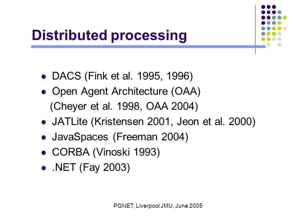 PGNET, Liverpool JMU, June 2005 Distributed processing DACS (Fink et al.