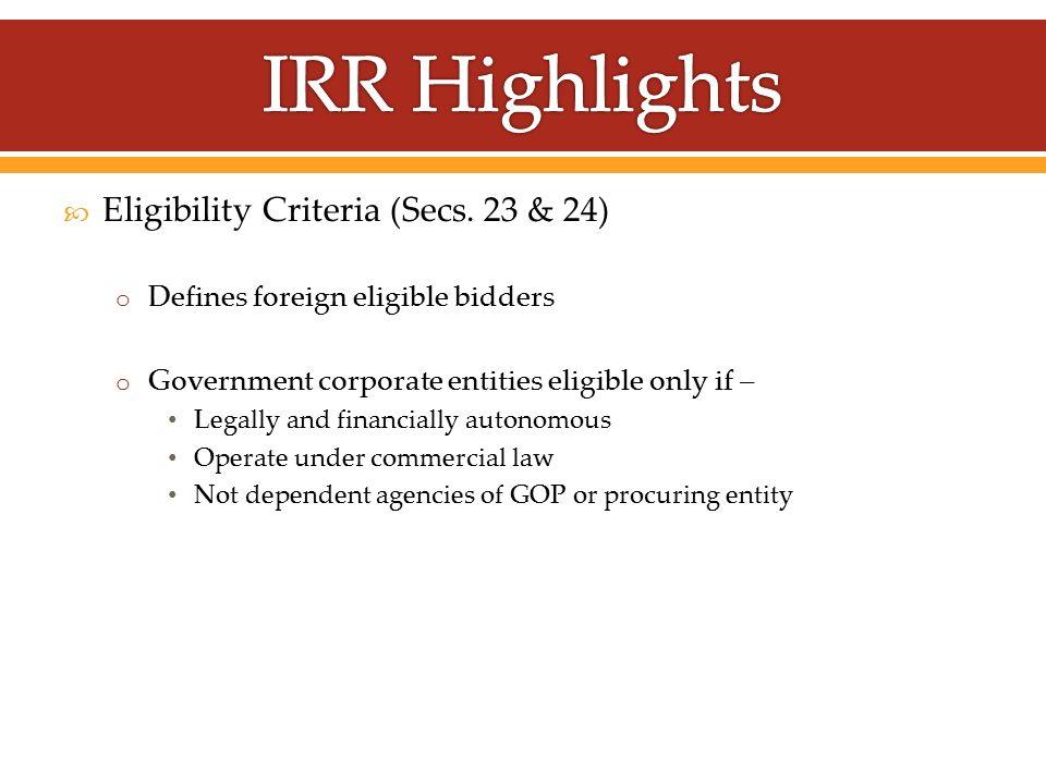  Eligibility Criteria (Secs.