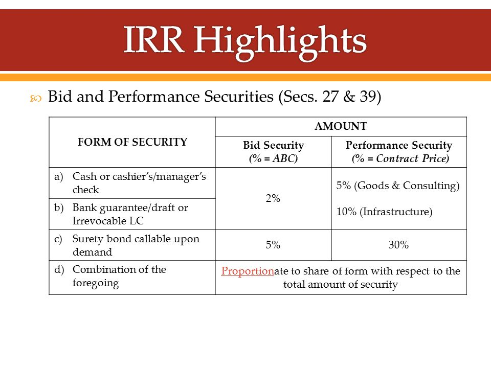  Bid and Performance Securities (Secs.
