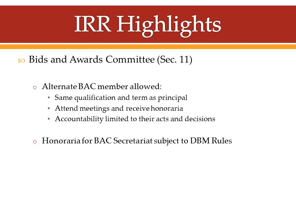  Bids and Awards Committee (Sec.