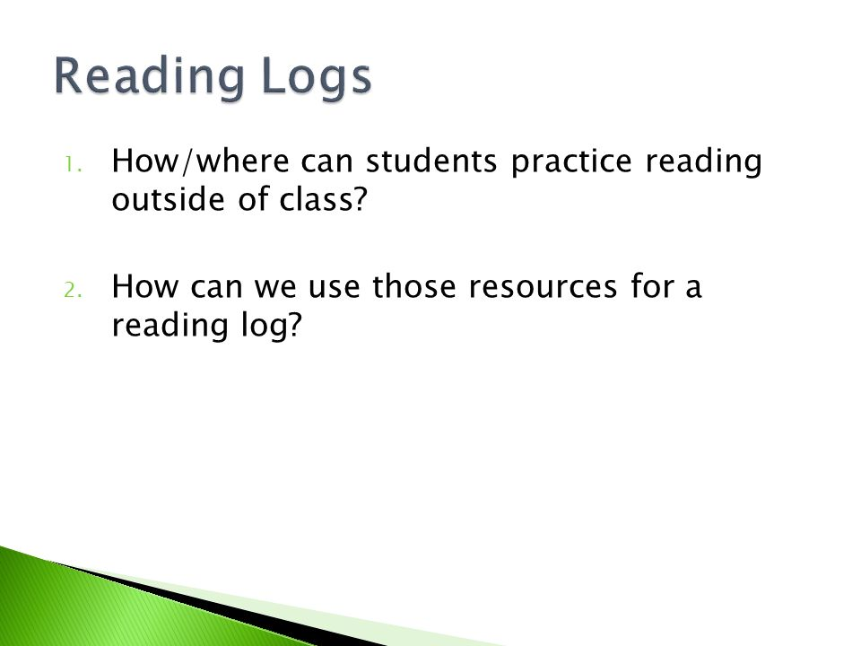 1. How/where can students practice reading outside of class? 2. How can we use those resources for a reading log?