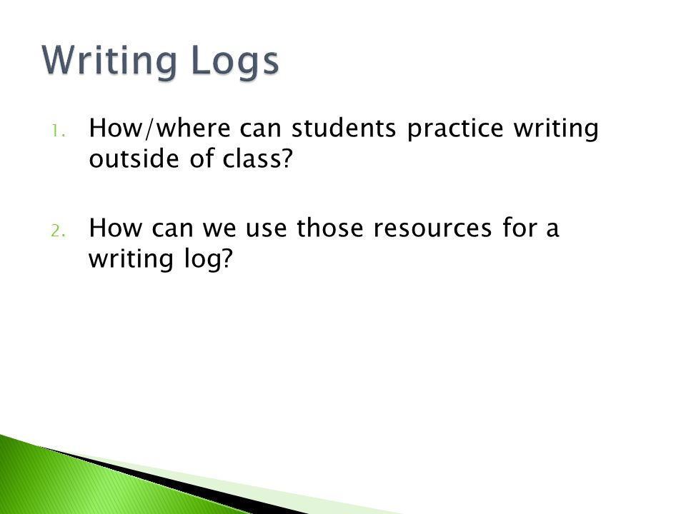 1. How/where can students practice writing outside of class? 2. How can we use those resources for a writing log?