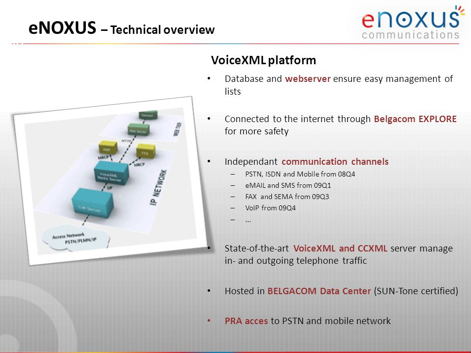 VoiceXML platform eNOXUS – Technical overview Database and webserver ensure easy management of lists Connected to the internet through Belgacom EXPLORE for more safety Independant communication channels – PSTN, ISDN and Mobile from 08Q4 – eMAIL and SMS from 09Q1 – FAX and SEMA from 09Q3 – VoIP from 09Q4 –...