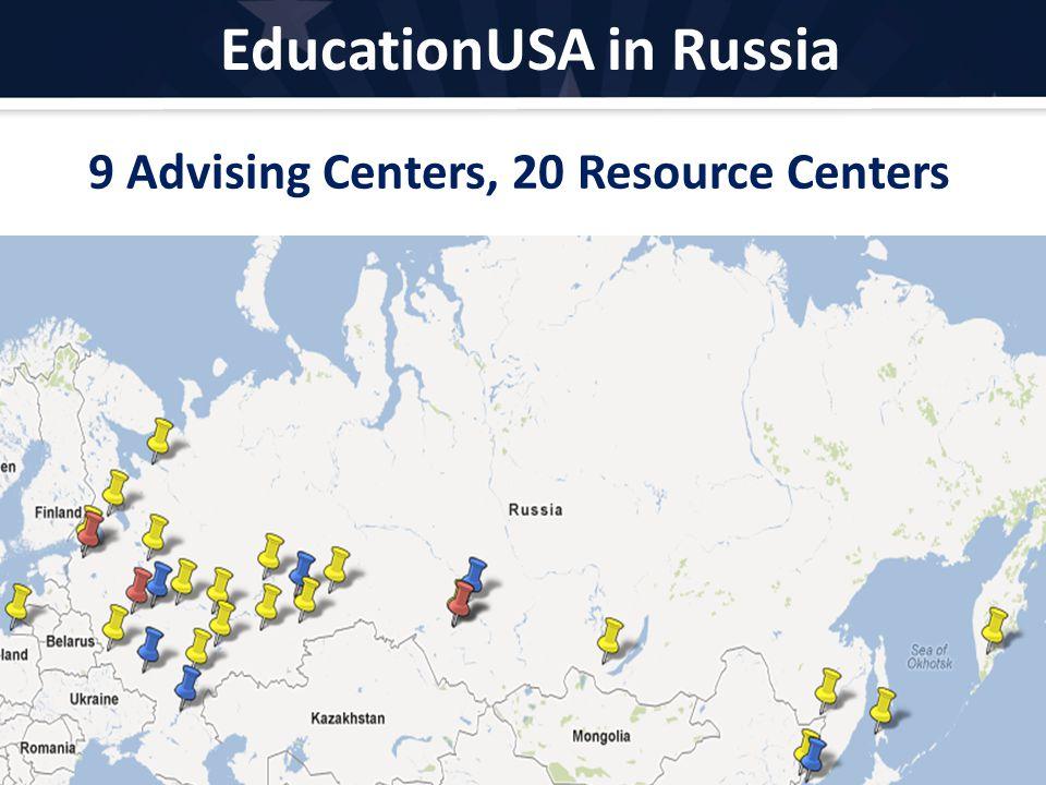EducationUSA in Russia EducationUSA.state.gov 9 Advising Centers, 20 Resource Centers