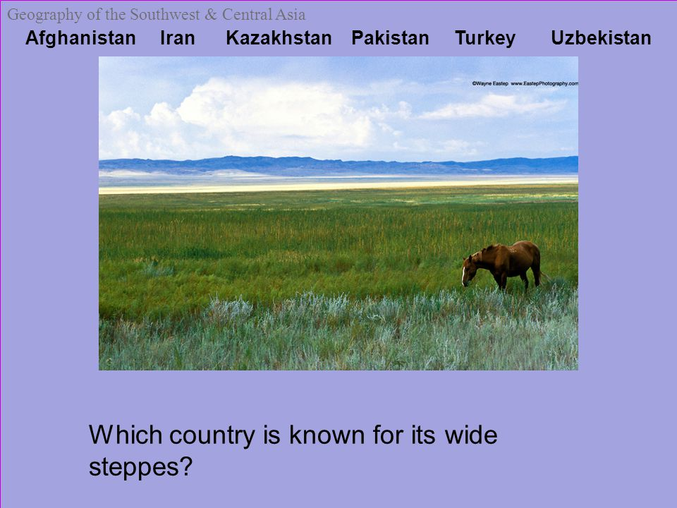 Afghanistan Iran Kazakhstan Pakistan Turkey Uzbekistan Geography of the Southwest & Central Asia Which country is known for its wide steppes