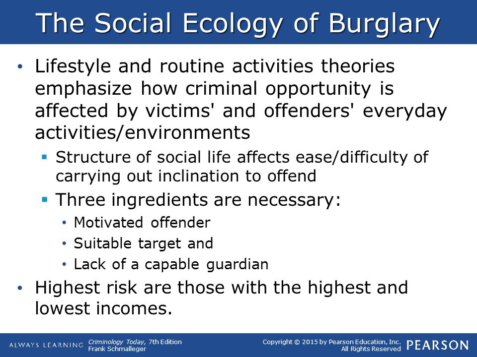 Copyright © 2015 by Pearson Education, Inc. All Rights Reserved Criminology Today, 7th Edition Frank Schmalleger The Social Ecology of Burglary Lifest