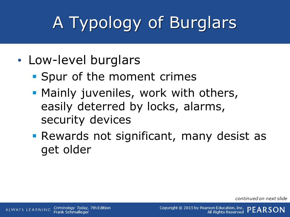 Copyright © 2015 by Pearson Education, Inc. All Rights Reserved Criminology Today, 7th Edition Frank Schmalleger A Typology of Burglars Low-level burg
