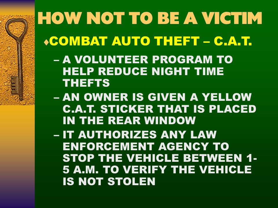 –A VOLUNTEER PROGRAM TO HELP REDUCE NIGHT TIME THEFTS –AN OWNER IS GIVEN A YELLOW C.A.T.