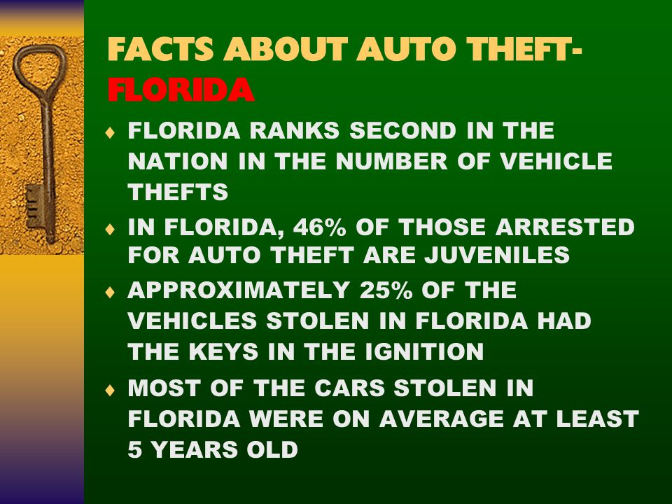 FACTS ABOUT AUTO THEFT- FLORIDA  FLORIDA RANKS SECOND IN THE NATION IN THE NUMBER OF VEHICLE THEFTS  IN FLORIDA, 46% OF THOSE ARRESTED FOR AUTO THEFT ARE JUVENILES  APPROXIMATELY 25% OF THE VEHICLES STOLEN IN FLORIDA HAD THE KEYS IN THE IGNITION  MOST OF THE CARS STOLEN IN FLORIDA WERE ON AVERAGE AT LEAST 5 YEARS OLD