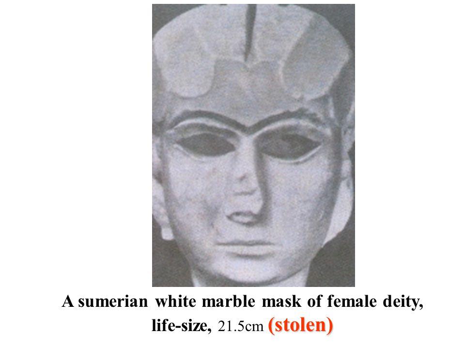 (stolen) A sumerian white marble mask of female deity, life-size, 21.5cm (stolen)