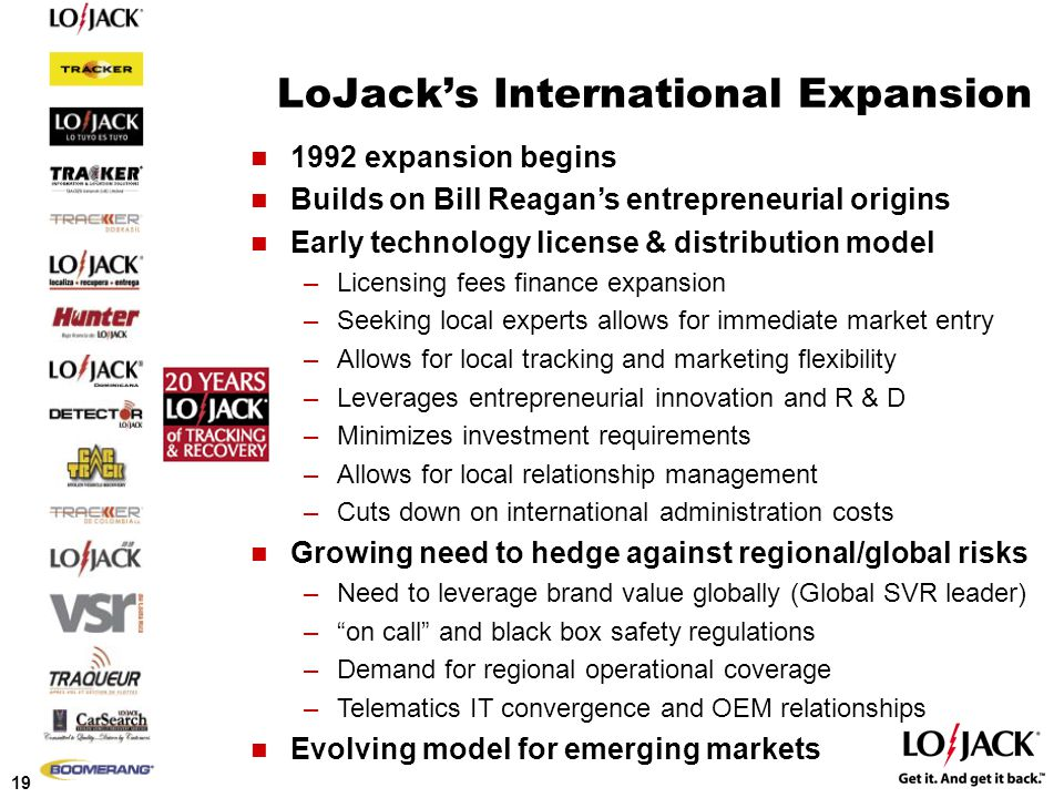 19 LoJack's International Expansion 1992 expansion begins Builds on Bill Reagan's entrepreneurial origins Early technology license & distribution model –Licensing fees finance expansion –Seeking local experts allows for immediate market entry –Allows for local tracking and marketing flexibility –Leverages entrepreneurial innovation and R & D –Minimizes investment requirements –Allows for local relationship management –Cuts down on international administration costs Growing need to hedge against regional/global risks –Need to leverage brand value globally (Global SVR leader) – on call and black box safety regulations –Demand for regional operational coverage –Telematics IT convergence and OEM relationships Evolving model for emerging markets
