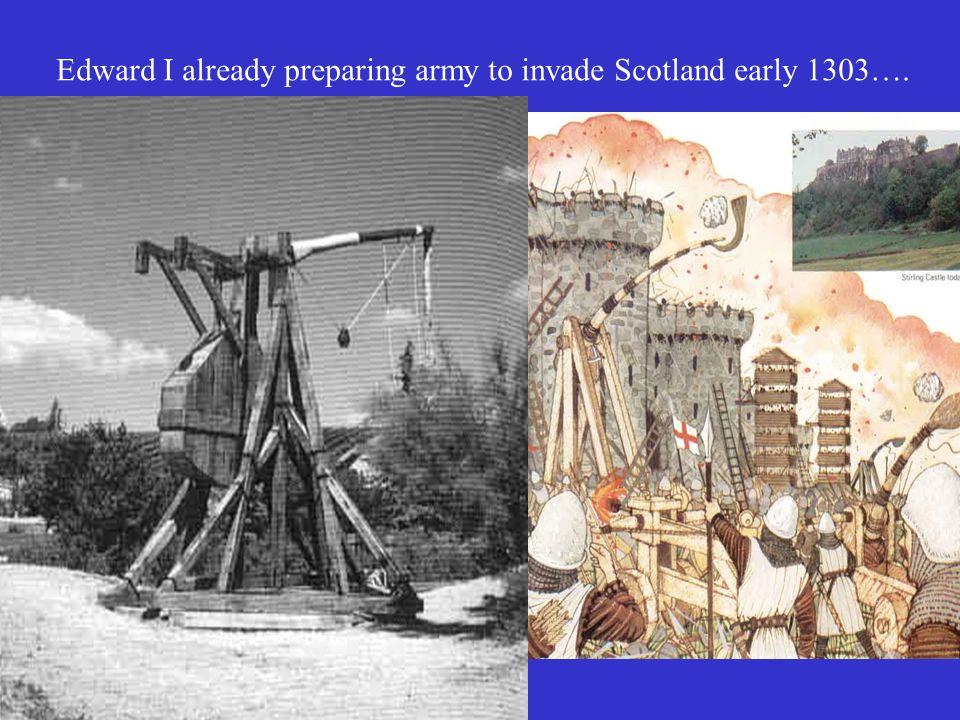 Edward I already preparing army to invade Scotland early 1303….