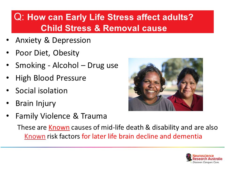 Anxiety & Depression Poor Diet, Obesity Smoking - Alcohol – Drug use High Blood Pressure Social isolation Brain Injury Family Violence & Trauma These are Known causes of mid-life death & disability and are also Known risk factors for later life brain decline and dementia Q: How can Early Life Stress affect adults.