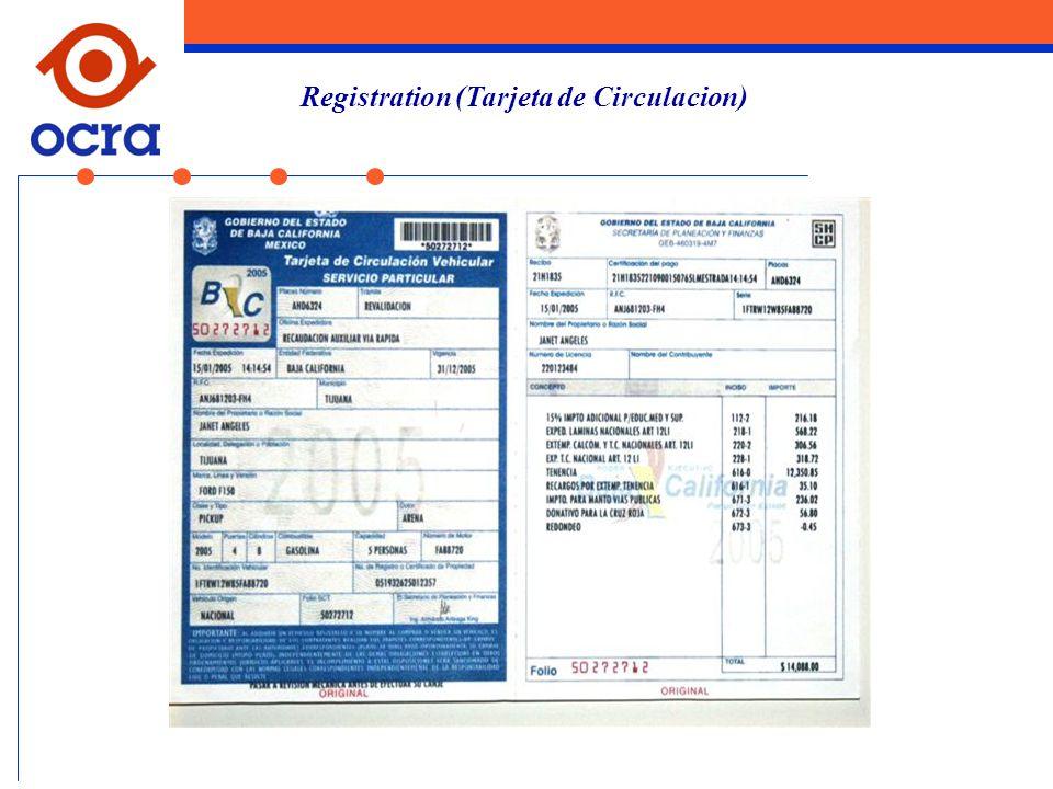 Registration (Tarjeta de Circulacion)