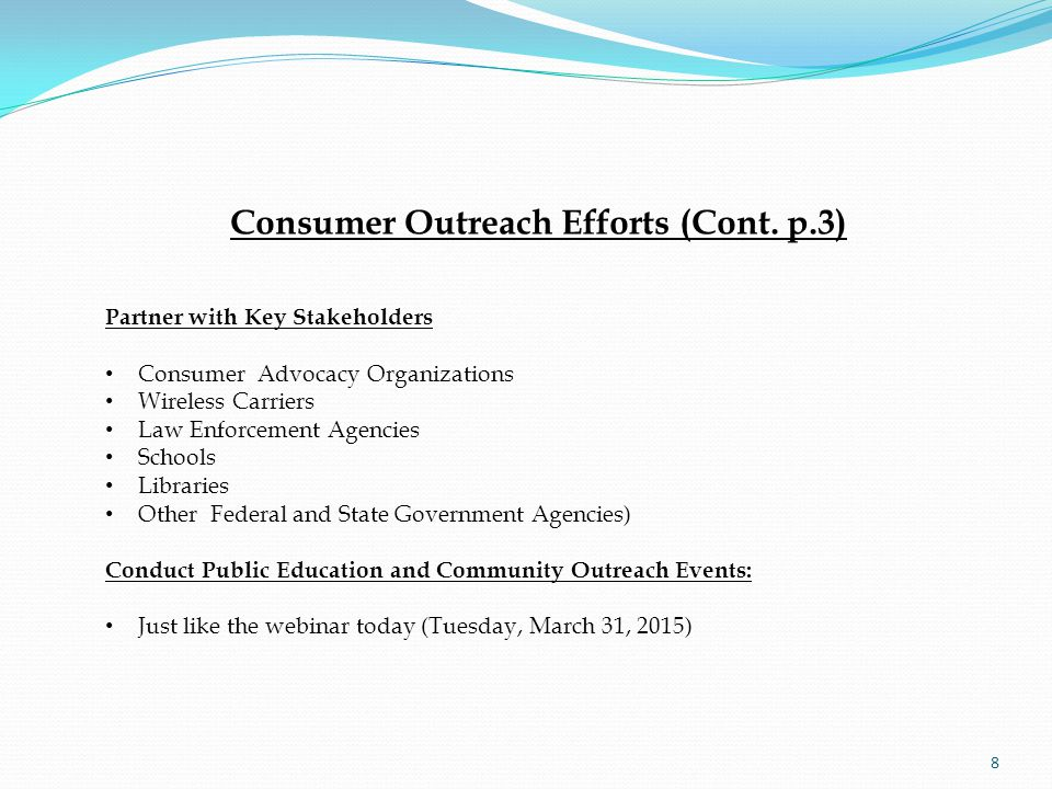 Consumer Outreach Efforts (Cont.