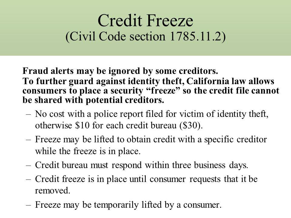 Fraud Alerts! Civil Code Section 1785.11.1 SB 168 (Bowen; Chapter 720; Statutes of 2001) established fraud alert to warn banks/potential creditors tha
