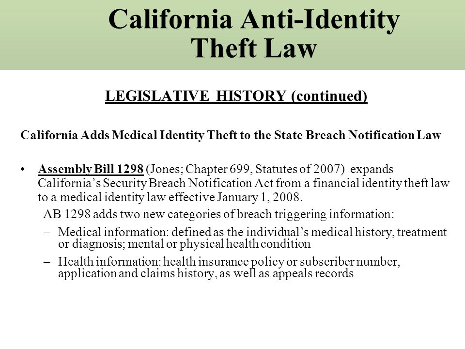 LEGISLATIVE HISTORY Senate Bill 1386 (Peace; Chapter 915, Statutes of 2002) otherwise known as the California Security Breach Notification Act requires state agencies and other entities that maintain personal information in computerized form to notify residents of California in the event of an unauthorized acquisition of computerized data.