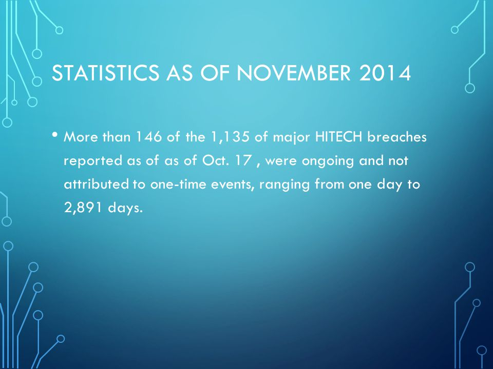 STATISTICS AS OF NOVEMBER 2014 More than 146 of the 1,135 of major HITECH breaches reported as of as of Oct.