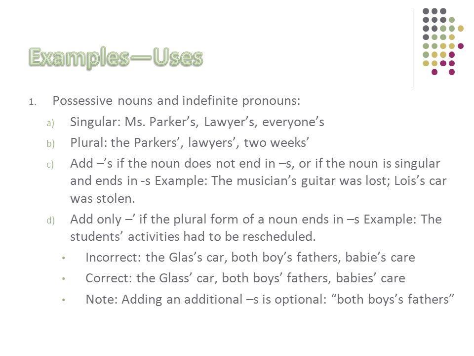 1. Possessive nouns and indefinite pronouns: a) Singular: Ms.