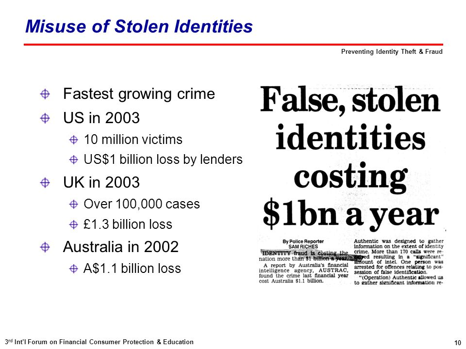 10 3 rd Int'l Forum on Financial Consumer Protection & Education Preventing Identity Theft & Fraud Misuse of Stolen Identities Fastest growing crime US in million victims US$1 billion loss by lenders UK in 2003 Over 100,000 cases £1.3 billion loss Australia in 2002 A$1.1 billion loss