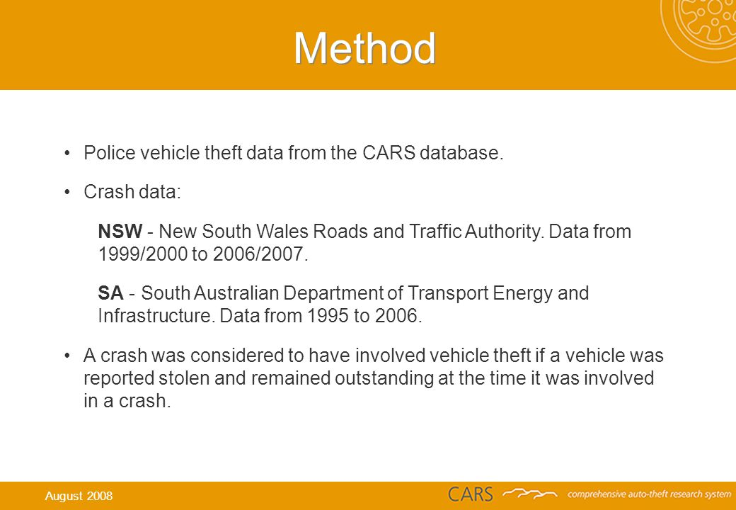 Method Police vehicle theft data from the CARS database.