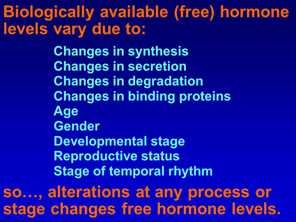 Biologically available (free) hormone levels vary due to: Changes in synthesis Changes in secretion Changes in degradation Changes in binding proteins Age Gender Developmental stage Reproductive status Stage of temporal rhythm so…, alterations at any process or stage changes free hormone levels.