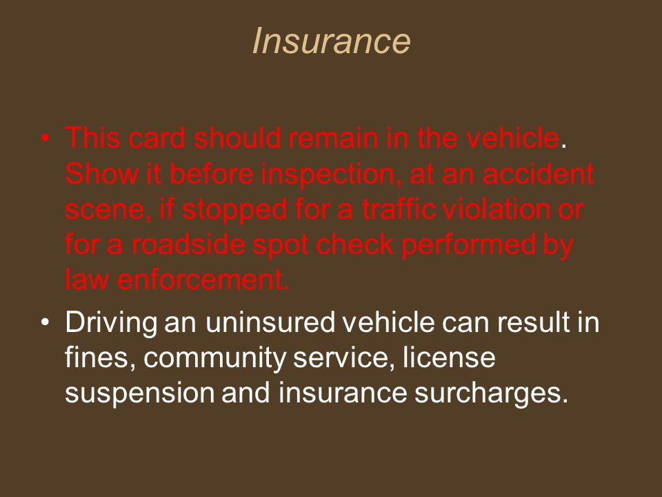 Insurance This card should remain in the vehicle.