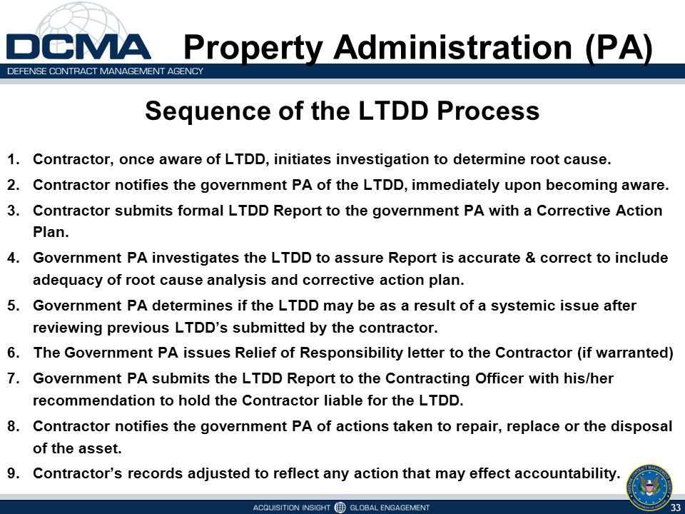 33 5/7/2015 Property Administration (PA) Sequence of the LTDD Process 1.Contractor, once aware of LTDD, initiates investigation to determine root caus