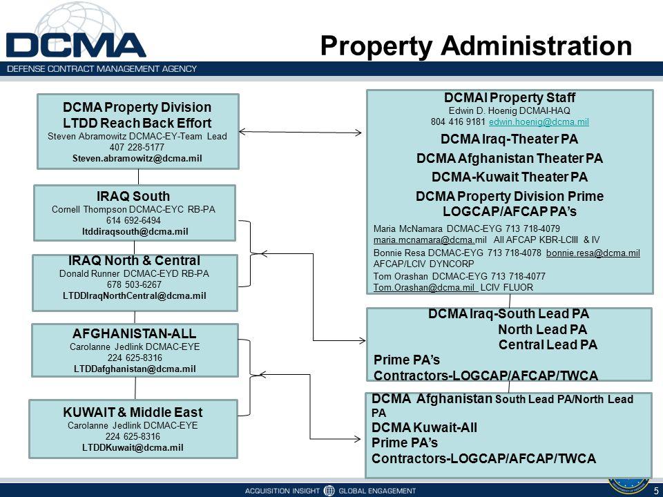 5 5/7/2015 DCMA Property Division LTDD Reach Back Effort Steven Abramowitz DCMAC-EY-Team Lead 407 228-5177 Steven.abramowitz@dcma.mil IRAQ South Corne