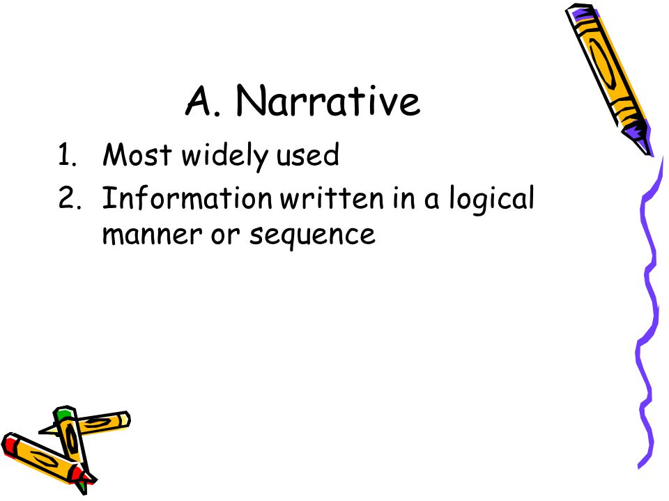 A. Narrative 1.Most widely used 2.Information written in a logical manner or sequence