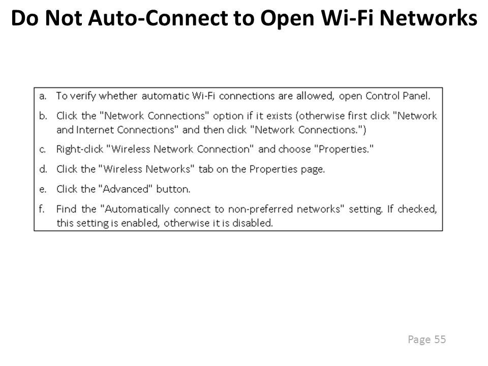 Disable SSID Broadcast Page 55