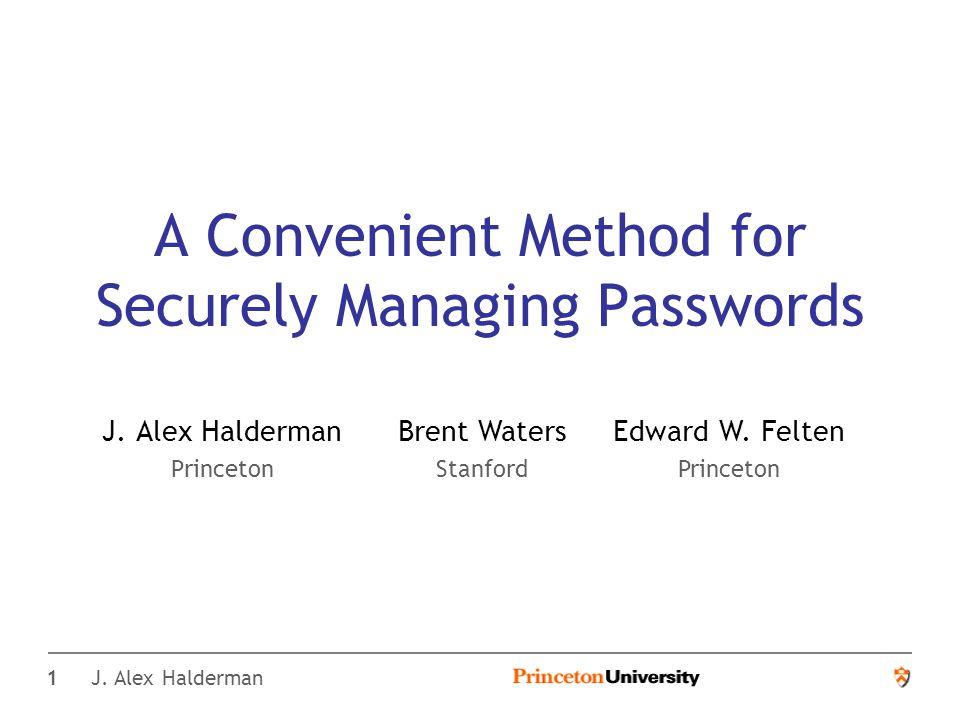 12 J. Alex Halderman Equivalent Password Length **** ******** *********