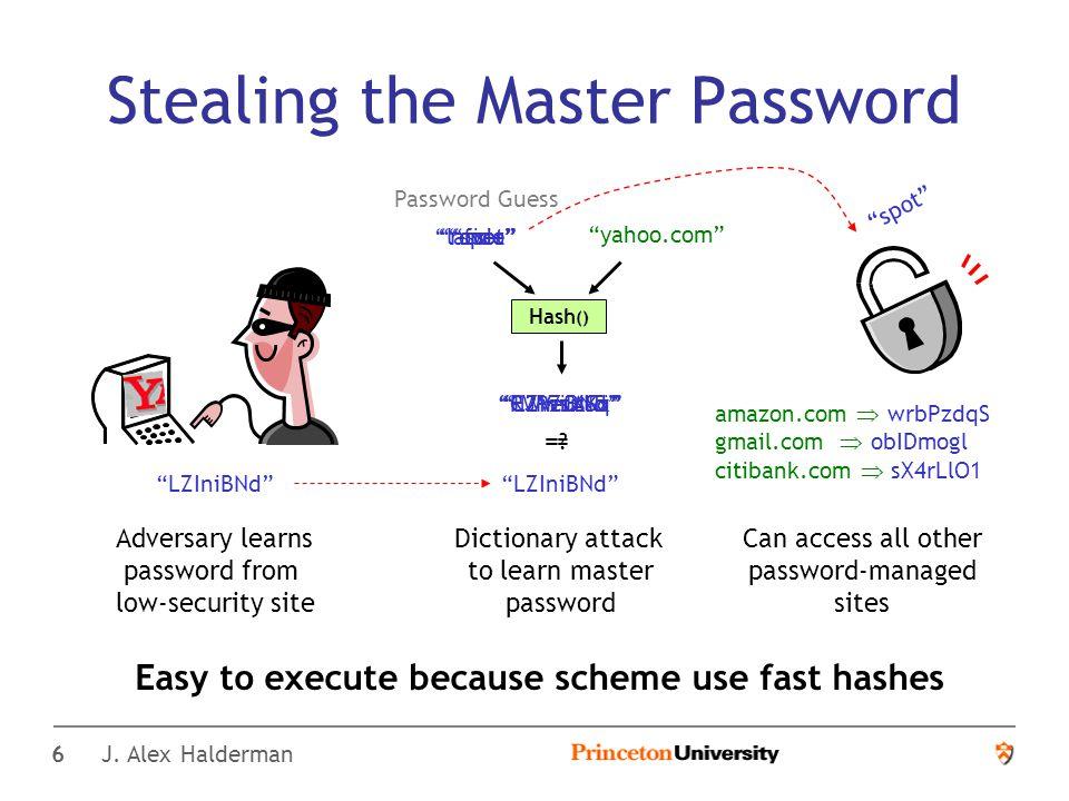 17 J.Alex Halderman A Convenient Method for Securely Managing Passwords J.