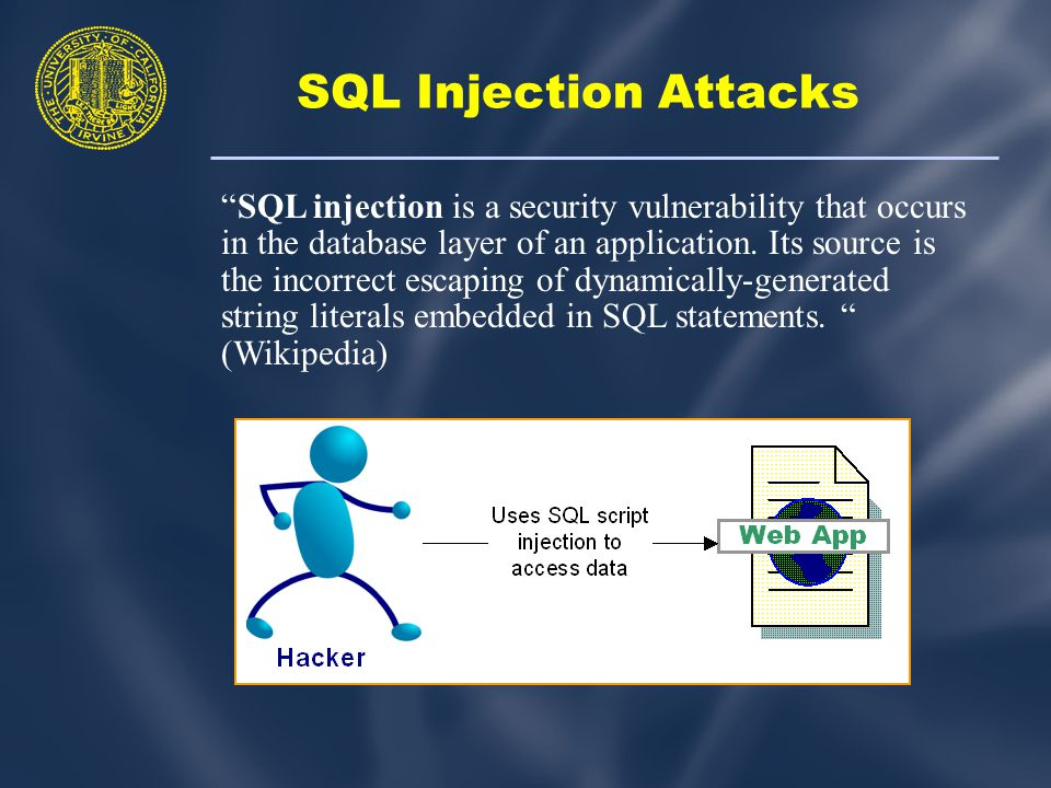 SQL Injection Attacks SQL injection is a security vulnerability that occurs in the database layer of an application.