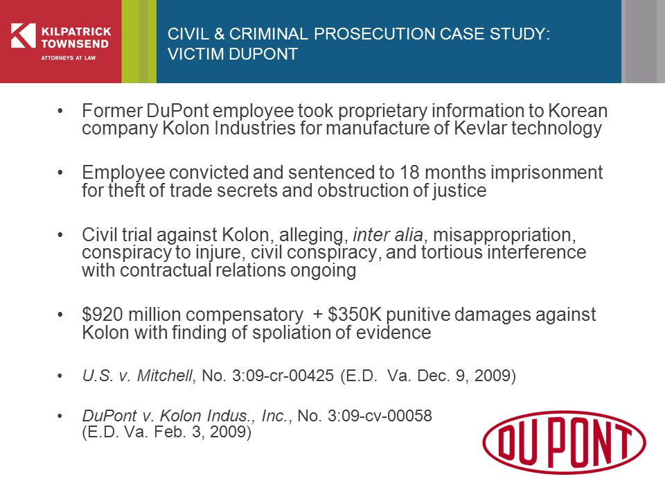 CIVIL & CRIMINAL PROSECUTION CASE STUDY: VICTIM DUPONT Former DuPont employee took proprietary information to Korean company Kolon Industries for manufacture of Kevlar technology Employee convicted and sentenced to 18 months imprisonment for theft of trade secrets and obstruction of justice Civil trial against Kolon, alleging, inter alia, misappropriation, conspiracy to injure, civil conspiracy, and tortious interference with contractual relations ongoing $920 million compensatory + $350K punitive damages against Kolon with finding of spoliation of evidence U.S.