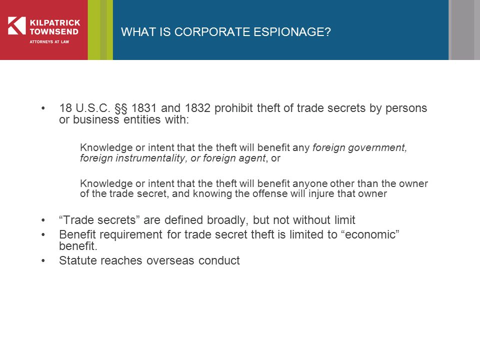 WHAT IS CORPORATE ESPIONAGE. 18 U.S.C.