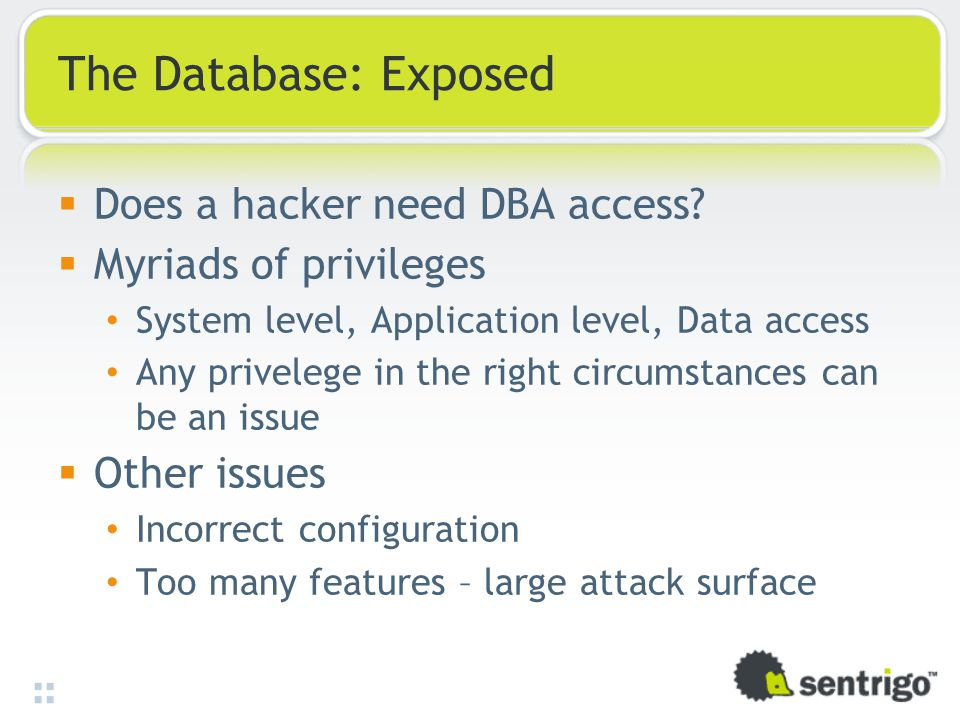 The Database: Exposed  Does a hacker need DBA access.