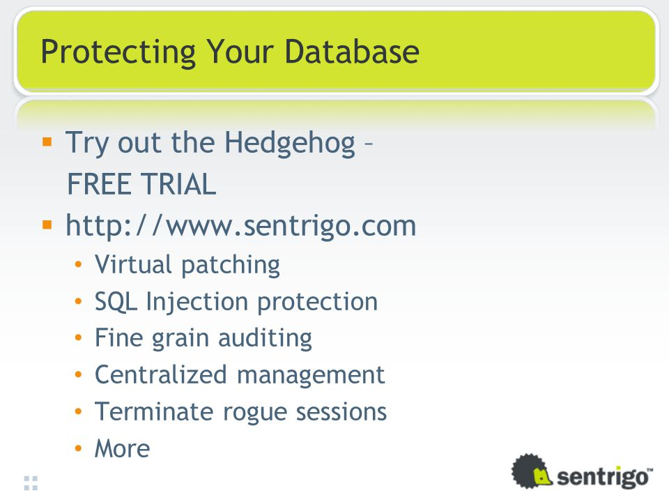 Protecting Your Database  Try out the Hedgehog – FREE TRIAL  http://www.sentrigo.com Virtual patching SQL Injection protection Fine grain auditing C