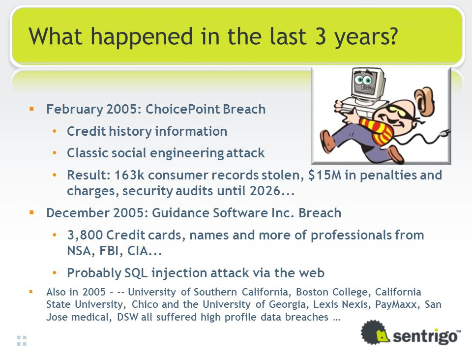 What happened in the last 3 years?  February 2005: ChoicePoint Breach Credit history information Classic social engineering attack Result: 163k consu