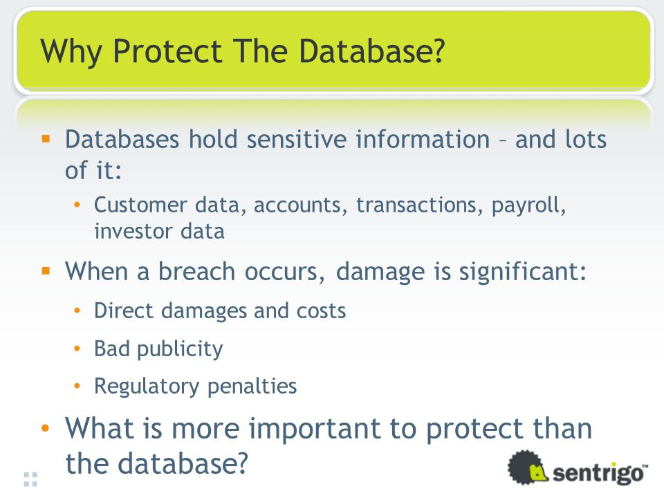 Why Protect The Database.