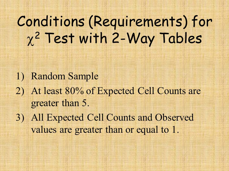 Expected (Cell) Count for Two-Way Tables