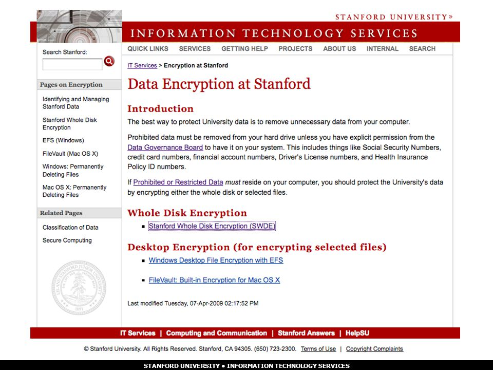 STANFORD UNIVERSITY INFORMATION TECHNOLOGY SERVICES 5/7/2015 Protect Your Data, Protect Yourself page 9