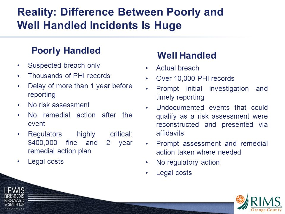Reality: Difference Between Poorly and Well Handled Incidents Is Huge Poorly Handled Suspected breach only Thousands of PHI records Delay of more than