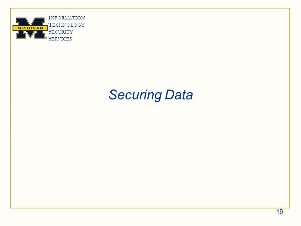 I NFORMATION T ECHNOLOGY S ECURITY S ERVICES Securing Data 19