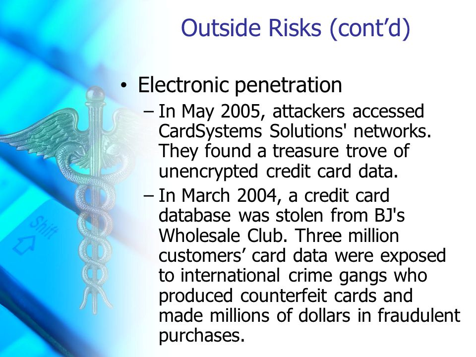 Outside Risks (cont'd) Electronic penetration –In May 2005, attackers accessed CardSystems Solutions networks.